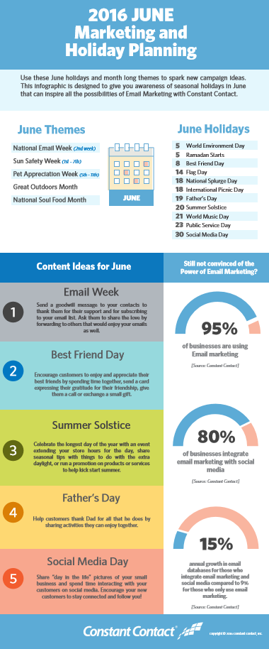 June 2016 Marketing & Holiday Planning – an Infographic
