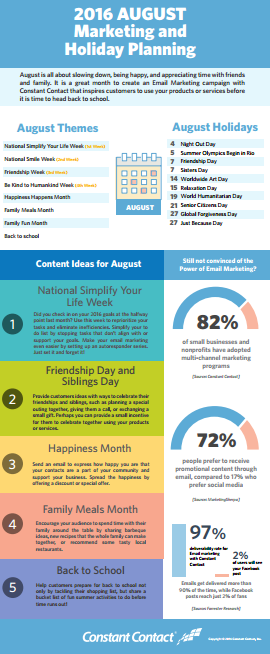2016 August Marketing & holiday planning infographic