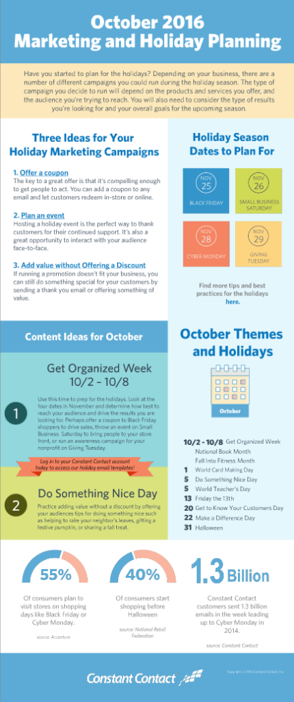 holiday marketing planner for October 2016