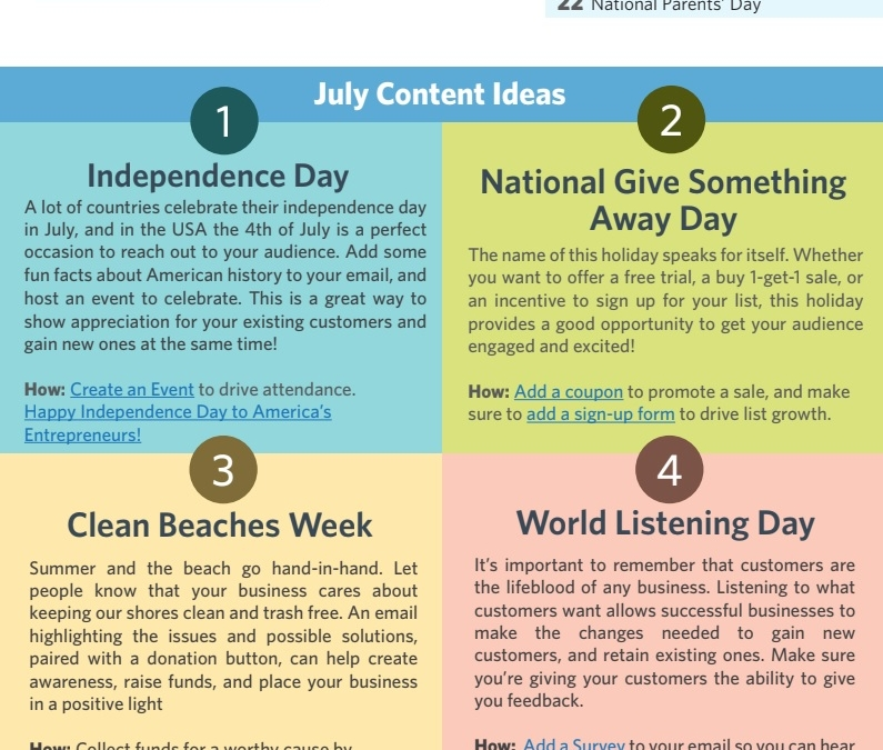 July 2018 Content Planner