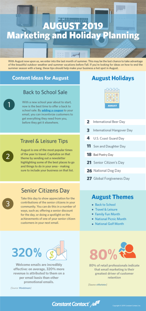 [Infographic] August 2019 Marketing and Holiday Planning
