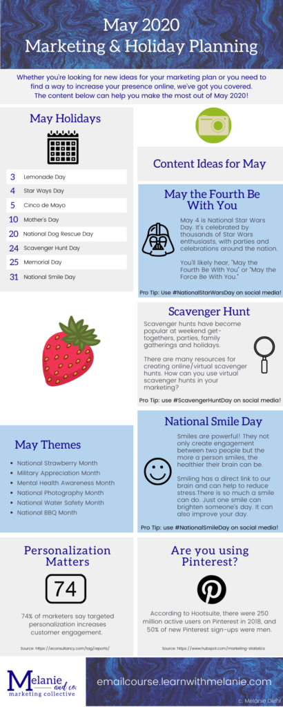 May 2020 marketing planner
